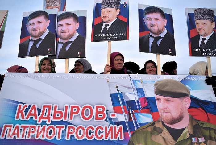 Чеченци на протест в Грозни в подкрепа на Кадиров и Путин