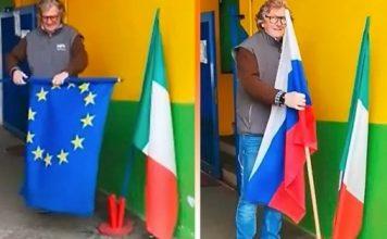 Италианци заменят флага на ЕС с флага на Русия! Защо ли? (видео)